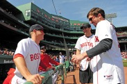BOSTON, MA - APRIL 18: Brock Holt #16 of the Boston Red Sox talks with actor Jake Gyllenhaal and Boston Marathon bombing survivor Jeff Bauman before a game against the Toronto Blue Jays on April 18, 2016 at Fenway Park in Boston, Massachusetts . (Photo by Michael Ivins/Boston Red Sox/Getty Images) *** Local Caption *** Brock Holt; Jake Gyllenhaal; Jeff Bauman