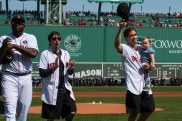 BOSTON, MA - APRIL 18: Actor Jake Gyllenhaal and Boston Marathon bombing survivor Jeff Bauman leave the field with David Ortiz #34 of the Boston Red Sox after throwing out ceremonial first pitches on April 18, 2016 at Fenway Park in Boston, Massachusetts . (Photo by Michael Ivins/Boston Red Sox/Getty Images) *** Local Caption *** David Ortiz; Jake Gyllenhaal; Jeff Bauman