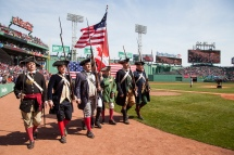 Boston, MA - Aprill 18: In honor of Patriots Day, the New England Endzone Militia takes on pre-game ceremonies before the Toronto Blue Jays vs. Boston Red Sox game on April 18, 2016 at Fenway Park in Boston, Massachusetts . (Photo by Simone Schiess/Boston Red Sox/