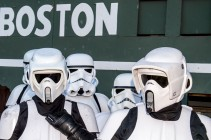 BOSTON, MA - May 9: Star Wars characters pose before a game between the Boston Red Sox and the Oakland Athletics on May 9, 2016 at Fenway Park in Boston, Massachusetts . (Photo by Billie Weiss/Boston Red Sox/Getty Images) *** Local Caption ***