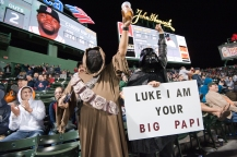 BOSTON, MA - May 9: Fans participating and celebrating during Star Wars Night against the Oakland Athletics at Fenway Park in Boston, Massachusetts on May 9, 2016. (Photo by Mark Clavin/Boston Red Sox)