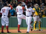 BOSTON, MA - MAY 9: Jackie Bradley Jr. #35 of the Boston Red Sox celebrates a grand slam against the Oakland Athletics with Xander Bogaerts #2 in the sixth inning on May 9, 2016 at Fenway Park in Boston, Massachusetts. (Photo by Michael Ivins/Boston Red Sox/Getty Images) *** Local Caption *** Jackie Bradley Jr.