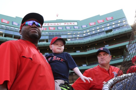 BOSTON, MA - MAY 11: Maverick Schutte of Cheyenne, Wyoming watches batting practice with David Ortiz #34 and Manager John Farrell #53 of the Boston Red Sox on May 11, 2016 at Fenway Park in Boston, Massachusetts. Schutte has undergone more than 30 surgical procedures because of a congenital heart defect and on Friday May 7th Ortiz delivered on a promise to him and hit a home run against the Yankees in New York. (Photo by Michael Ivins/Boston Red Sox/Getty Images) *** Local Caption *** David Ortiz;John Farrell;Maverick Schutte