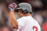 BOSTON, MA - MAY 21: Xander Bogaerts #2 of the Boston Red Sox reacts after hitting an RBI single during the third inning of a game against the Cleveland Indians on May 21, 2016 at Fenway Park in Boston, Massachusetts. (Photo by Billie Weiss/Boston Red Sox/Getty Images) *** Local Caption *** Xander Bogaerts