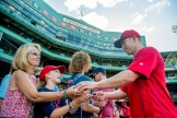 BOSTON, MA - JULY 19: Aaron Hill #18 of the Boston Red Sox signs autographs before a game against the San Francisco Giants on July 19, 2016 at Fenway Park in Boston, Massachusetts. (Photo by Billie Weiss/Boston Red Sox/Getty Images) *** Local Caption *** Aaron Hill