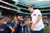 BOSTON, MA - JULY 19: New England Patriots Tight End Rob Gronkowski greets fans before throwing out a ceremonial first pitch on July 19, 2016 at Fenway Park in Boston, Massachusetts. (Photo by Michael Ivins/Boston Red Sox/Getty Images) *** Local Caption *** Rob Gronkowski