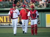 BOSTON, MA - JULY 20: Drew Pomeranz #31 of the Boston Red Sox walks to the dugout with catcher Sandy Leon #3 and pitching coach Carl Willis #54 before his start against the San Francisco Giants on July 20, 2016 at Fenway Park in Boston, Massachusetts. (Photo by Michael Ivins/Boston Red Sox/Getty Images) *** Local Caption *** Drew Pomeranz;Sandy Leon