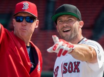 BOSTON, MA - JULY 20: New England Patriots wide receiver Julian Edelman talks to third base coach Brian Butterfield #55 of the Boston Red Sox while taking batting practice on July 20, 2016 at Fenway Park in Boston, Massachusetts. (Photo by Michael Ivins/Boston Red Sox/Getty Images) *** Local Caption *** Julian Edelman