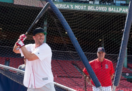 BOSTON, MA - JULY 20: New England Patriots wide receiver Julian Edelman takes batting practice while Manager John Farrell #55 of the Boston Red Sox looks on on July 20, 2016 at Fenway Park in Boston, Massachusetts. (Photo by Michael Ivins/Boston Red Sox/Getty Images) *** Local Caption *** Julian Edelman;John Farrell