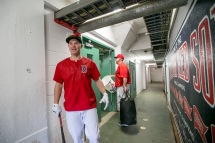 BOSTON, MA - JULY 23: Brock Holt #12 of the Boston Red Sox reacts in the tunnel before a game against the Minnesota Twins on July 23, 2016 at Fenway Park in Boston, Massachusetts. (Photo by Billie Weiss/Boston Red Sox/Getty Images) *** Local Caption *** Brock Holt