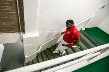 BOSTON, MA - JULY 23: David Ortiz #34 of the Boston Red Sox walks down the stairs in the tunnel before a game against the Minnesota Twins on July 23, 2016 at Fenway Park in Boston, Massachusetts. (Photo by Billie Weiss/Boston Red Sox/Getty Images) *** Local Caption *** David Ortiz