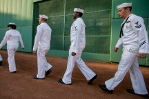 BOSTON, MA - JULY 23: Members of the Navy walk on to the field before a game between the Boston Red Sox and the Minnesota Twins on July 23, 2016 at Fenway Park in Boston, Massachusetts. (Photo by Billie Weiss/Boston Red Sox/Getty Images) *** Local Caption ***