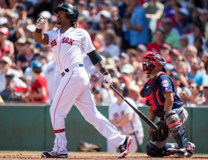 BOSTON, MA - JULY 24: Hanley Ramirez #13 of the Boston Red Sox hits a three-run home run against the Minnesota Twins in the third inning on July 24, 2016 at Fenway Park in Boston, Massachusetts. (Photo by Michael Ivins/Boston Red Sox/Getty Images) *** Local Caption *** Hanley Ramirez