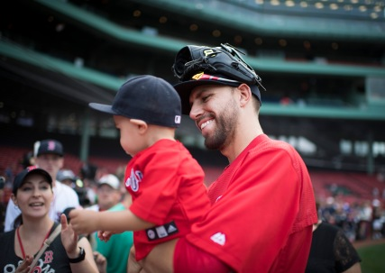 BOSTON, MA - AUGUST 13: Matt Barnes #68 of the Boston Red Sox greets fans before a game against the Arizona Diamondbacks on August 13, 2016 at Fenway Park in Boston, Massachusetts. (Photo by Michael Ivins/Boston Red Sox/Getty Images) *** Local Caption *** Matt Barnes