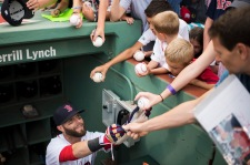 BOSTON, MA - AUGUST 13: Dustin Pedroia #15 of the Boston Red Sox signs autographs before a game against the Arizona Diamondbacks on August 13, 2016 at Fenway Park in Boston, Massachusetts. (Photo by Michael Ivins/Boston Red Sox/Getty Images) *** Local Caption *** Dustin Pedroia