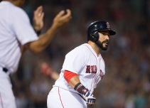 BOSTON, MA - AUGUST 13: Sandy Leon #3 of the Boston Red Sox rounds the bases after hitting a solo home run against the Arizona Diamondbacks in the fifth inning on August 13, 2016 at Fenway Park in Boston, Massachusetts. (Photo by Michael Ivins/Boston Red Sox/Getty Images) *** Local Caption *** Sandy Leon