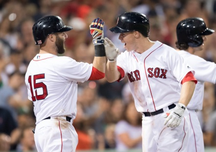 BOSTON, MA - AUGUST 13: Brock Holt #12 of the Boston Red Sox celebrates a two-run home run against the Arizona Diamondbacks with Dustin Pedoria #15 in the sixth inning on August 13, 2016 at Fenway Park in Boston, Massachusetts. (Photo by Michael Ivins/Boston Red Sox/Getty Images) *** Local Caption *** Brock Holt;Dustin Pedroia