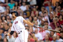 BOSTON, MA - AUGUST 27: Xander Bogaerts #2 of the Boston Red Sox hits a two run home run during the first inning of a game against the Kansas City Royals on August 27, 2016 at Fenway Park in Boston, Massachusetts. (Photo by Billie Weiss/Boston Red Sox/Getty Images) *** Local Caption *** Xander Bogaerts
