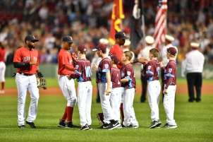 -Boston, MA-September 16, 2016- The Boston Red Sox played the New York Yankees in the second of a 4 game set. The Red Sox won game 7-4. Little League boys meet Red Sox heroes prior to the game. Photo by Cindy M. Loo/The Boston Red Sox