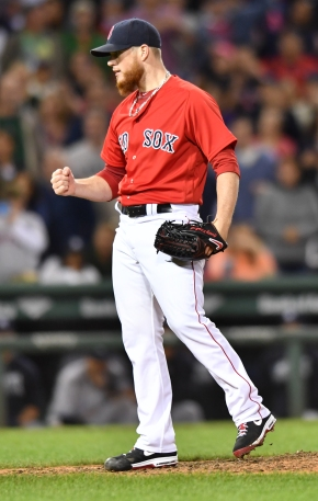 -Boston, MA-September 16, 2016- The Boston Red Sox played the New York Yankees in the second of a 4 game set. The Red Sox won game 7-4. Craig Kimbrel clenches his fist after getting the last Yankees batter to strike out to end the game. Photo by Cindy M. Loo/The Boston Red Sox