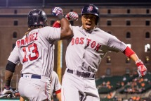 BALTIMORE, MD - SEPTEMBER 19: Mookie Betts #50 of the Boston Red Sox high fives Hanley Ramirez #13 after hitting a two run home run during the third inning of a game against the Baltimore Orioles on September 19, 2016 at Oriole Park at Camden Yards in Baltimore, Maryland. (Photo by Billie Weiss/Boston Red Sox/Getty Images) *** Local Caption *** Mookie Betts; Hanley Ramirez