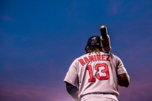 BALTIMORE, MD - SEPTEMBER 19: Hanley Ramirez #13 of the Boston Red Sox warms up on deck during the first inning of a game against the Baltimore Orioles on September 19, 2016 at Oriole Park at Camden Yards in Baltimore, Maryland. (Photo by Billie Weiss/Boston Red Sox/Getty Images) *** Local Caption *** Hanley Ramirez