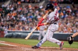 BALTIMORE, MD - SEPTEMBER 22: Andrew Benintendi #40 of the Boston Red Sox hits an RBI single during the fifth inning of a game against the Baltimore Orioles on September 22, 2016 at Oriole Park at Camden Yards in Baltimore, Maryland. (Photo by Billie Weiss/Boston Red Sox/Getty Images) *** Local Caption *** Andrew Benintendi