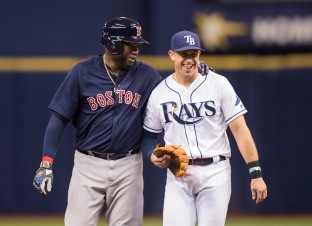 ST. PETERSBURG, FL - SEPTEMBER 23: David Ortiz #34 of the Boston Red Sox jokes with Evan Longoria #3 of the Tampa Bay Rays after being tagged out at second base in the seventh inning on September 23, 2016 at Tropicana Field in St. Petersburg, Florida. (Photo by Michael Ivins/Boston Red Sox/Getty Images) *** Local Caption *** David Ortiz;Evan Longoria