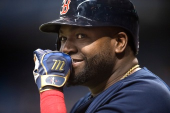 ST. PETERSBURG, FL - SEPTEMBER 23: David Ortiz #34 of the Boston Red Sox reacts to the fans while on deck to back against the Tampa Bay Rays in the ninth inning on September 23, 2016 at Tropicana Field in St. Petersburg, Florida. (Photo by Michael Ivins/Boston Red Sox/Getty Images) *** Local Caption *** David Ortiz