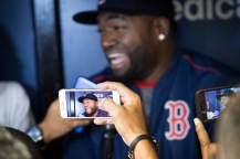 ST. PETERSBURG, FL - SEPTEMBER 24: David Ortiz #34 of the Boston Red Sox talks to members of the media before a game against the Tampa Bay Rays on September 24, 2016 at Tropicana Field in St. Petersburg, Florida. (Photo by Michael Ivins/Boston Red Sox/Getty Images) *** Local Caption *** David Ortiz