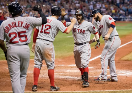 ST. PETERSBURG, FL - SEPTEMBER 24: Dustin Pedroia #15 of the Boston Red Sox reacts after a grand slam against the Tampa Bay Rays in the seventh inning on September 24, 2016 at Tropicana Field in St. Petersburg, Florida. (Photo by Michael Ivins/Boston Red Sox/Getty Images) *** Local Caption *** Dustin Pedroia