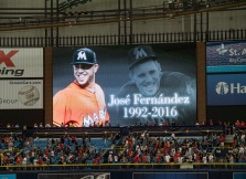 ST. PETERSBURG, FL - SEPTEMBER 25: Fans stand for a moment of silence in honor of deceased Miami Marlins pitcher Jose Fernandez before a game between the Boston Red Sox and the Tampa Bay Rays on September 25, 2016 at Tropicana Field in St. Petersburg, Florida. (Photo by Michael Ivins/Boston Red Sox/Getty Images) *** Local Caption ***
