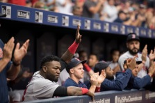 ST. PETERSBURG, FL - SEPTEMBER 25: David Ortiz #34 of theBoston Red Sox acknowledges the crowd during a video tribute against the Tampa Bay Rays in the first inning on September 25, 2016 at Tropicana Field in St. Petersburg, Florida. (Photo by Michael Ivins/Boston Red Sox/Getty Images) *** Local Caption *** David Ortiz