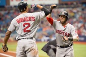 ST. PETERSBURG, FL - SEPTEMBER 25: Dustin Pedroia #15 of the Boston Red Sox is congratulated by Xander Bogaerts #2 after a home run against the Tampa Bay Rays in the third inning on September 25, 2016 at Tropicana Field in St. Petersburg, Florida. (Photo by Michael Ivins/Boston Red Sox/Getty Images) *** Local Caption *** Dustin Pedroia