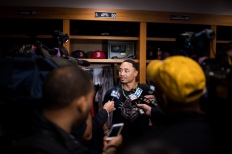 NEW YORK, NY - SEPTEMBER 28: Mookie Betts #50 of the Boston Red Sox talks to members of the media before a game against the New York Yankees on September 28, 2016 at Yankee Stadium in the New York, NY. (Photo by Michael Ivins/Boston Red Sox/Getty Images) *** Local Caption *** Mookie Betts