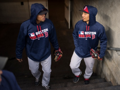 NEW YORK, NY - SEPTEMBER 28: Xander Bogaerts #2 and Mookie Betts #50 of the Boston Red Sox take the field for batting practice before a game against the New York Yankees on September 28, 2016 at Yankee Stadium in the New York, NY. (Photo by Michael Ivins/Boston Red Sox/Getty Images) *** Local Caption *** Xander Bogaerts;Mookie Betts