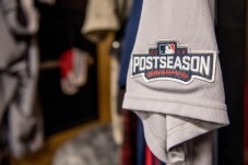 CLEVELAND, OH - OCTOBER 6: A Boston Red Sox jersey is shown before game one of the American League Division Series against the Cleveland Indians on October 6, 2016 at Progressive Field in Cleveland, Ohio. (Photo by Billie Weiss/Boston Red Sox/Getty Images) *** Local Caption ***