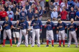 CLEVELAND, OH - OCTOBER 6: Members of the Boston Red Sox line up before game one of the American League Division Series against the Cleveland Indians on October 6, 2016 at Progressive Field in Cleveland, Ohio. (Photo by Billie Weiss/Boston Red Sox/Getty Images) *** Local Caption ***