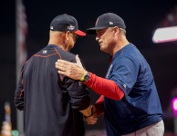 CLEVELAND, OH - OCTOBER 6: Manager John Farrell #53 of the Boston Red Sox shakes hands with Manager Terry Francona #17 of the Cleveland Indians before the start of game one of the American League Division Series on October 6, 2016 at Progressive Field in Cleveland, Ohio. (Photo by Michael Ivins/Boston Red Sox/Getty Images) *** Local Caption *** John Farrell;Terry Francona